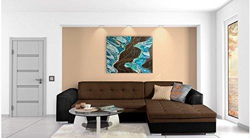 JUSTyou Fortuna Canapé d'angle Sofa canapé lit Simili Cuir Tissu structuré (lxLxH): 165x270x80 cm Noir Brun Angle Droit