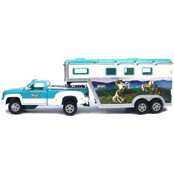 Breyer - 5356 - Figurine - Animal - Pick Up Avec Remorque Pour 3 Chevaux - Bleu Clair