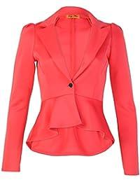 Fast Fashion Damen Blazer Oben Plain Schößchen One Knopf Frill Mantel