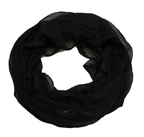 leichter unifarbener Damen Seide Loop Schal Seidenschal Schlauchschal (schwarz)