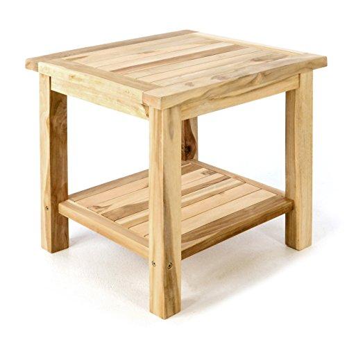 DIVERO Beistelltisch Blumenhocker Balkontisch Teak Holz Tisch für Terrasse Balkon Garten – wetterfest stabil unbehandelt – 50 x 50 cm natur-braun (Nachttisch-kleiner Tisch)