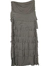 N A Collection Damen Italienisch Layered Look Quirky Layered Effect Rüschen Rüschen Tiered Silk Damen Long Shredded Maxi Rock