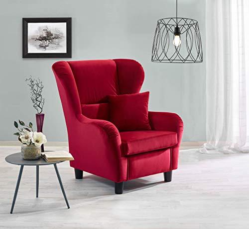 lifestyle4living Ohrensessel in rotem Samt bezogen | Der perfekte Sessel für entspannte, Lange Fernseh- und Leseabende. Abschalten und genießen!