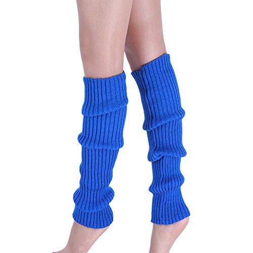 Goosuny Damen Stulpen Boot Manschetten Wärmer Stricken Bein Strümpfe Einfarbig Winter Absatz Beinwärmer Dicke Socken Stiefel Cover Beinlinge Kniesocken Legwarmers Beinstulpen(Blau)