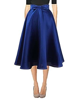 Idgretim Damen Retro A-Linie Elegante Faltenrock Hohe Taille Midirock 50er Jahre Audrey Hepburn Style blau
