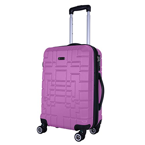 Shaik® Serie XANO HKG Design Hartschalen Trolley, Koffer, Reisekoffer, in 3 Größen M/L / XL/Set 45/80/120 Liter, 4 Doppelrollen, TSA Schloss (Handgepäck M, Lila)