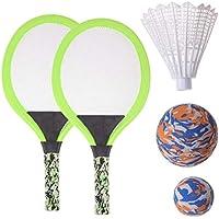 BESPORTBLE Juego de Raquetas de Tenis Mango Duradero Raquetas de Bádminton Juego Juguetes de Playa para Niños Juguete de Juego Al Aire Libre Oval Verde