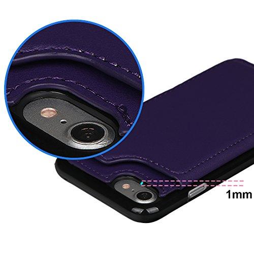 """xhorizon TM Housse de portefeuille antidéflagrant durable, étui en cuir de luxe Folio porte-monnaie avec fente de soutien de carte de crédit pour iPhone 7 [4.7""""] Pourpre + 9H Glas Film"""