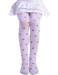BBsmile Las Niñas Leggings Pantalones De Los Niños, NiñAs Footed CorazóN Dots Medias Ballet Dulces Colores Opacos Apretado