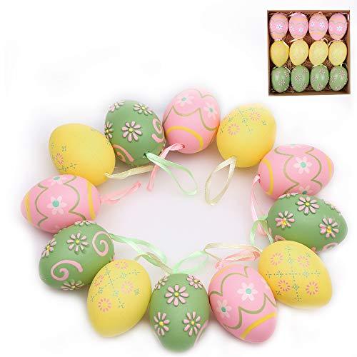 Victor's workshop uovo di pasqua pezzi 12 pasqua decorazoni in plastica da 6 cm per la decorazione di pasqua- giallo/rosa/verde