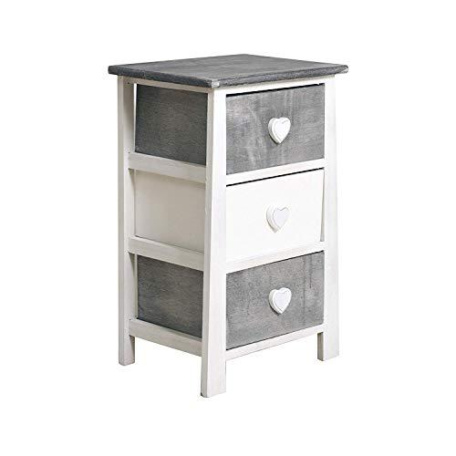 Rebecca mobili comodino con 3 cassetti bianco, stile shabby, legno paulownia, per camera bagno - misure: 57,5 x 37 x 27 cm (hxlxp) - art. re4160