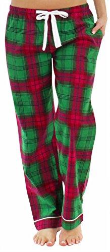 PajamaMania Schlafanzughose für Damen aus Flanell Pyjamahose Nachtwäsche Grün Plaid