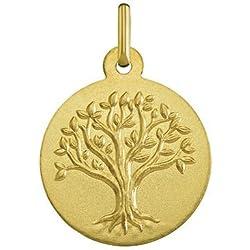 ARBRE DE VIE - Médaille Laïque - Or Jaune 18 carats - Diamètre: 18 mm - www.diamants-perles.com