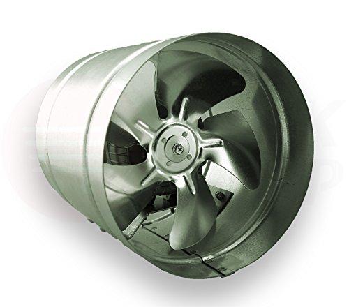 Axialer Rohrventilator Ø 250 mm 1000m³/h Rohrlüfter Lüfter Hochdruck Ventilator Abluft Gebläse Metall Radialventilator (Dunstabzugshaube Mit Kanal)