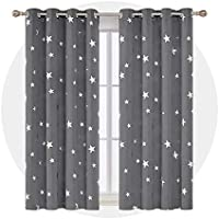 Deconovo Kids Blackout Curtains Stars Foil Printed Thermal Insulated Curtains Eyelet Blackout Curtains for Bedroom with Two Matching Tie Backs 46 x 54 Inch Grey One Pair