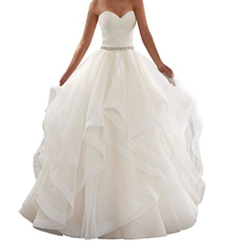 EVANKOU Damen Lang Schulterfreie Schulterfrei Braut Hochzeitskleid Brautkleider Elfenbein Größe 40