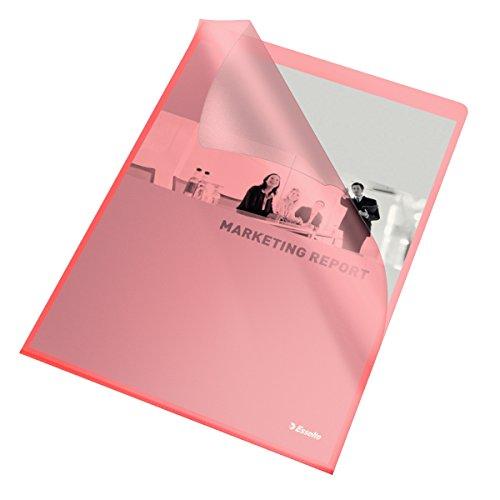 Esselte Leitz 54834 - Paquete de 100 portafolios de plástico A4, rojo