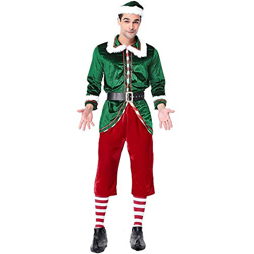 Zounghy Weihnachten Unisex Grün Elf Weihnachtsmann Cosplay Kostüm, Deluxe Paare Kleidungsstück Karneval Party Supplies, Weihnachtsfeiertag
