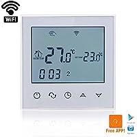 Termostato inalámbrico de Beok TDS21-EP para calefacción de suelo radiante, digital, programable, pantalla táctil LCD y sensor de suelo, control mediante smartphone, AC 230V, 16A, color blanco, blanco, 230.00V