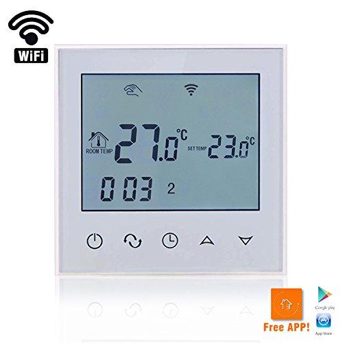Heizung Temperatur-kontrolle (BEOK tds21-ep WiFi Raumthermostat Thermostat Digital programmierbar Fußbodenheizung Elektrische Heizung Kabelloser Temperatur Controller mit LCD-Touchscreen & Boden Sensor, Fernbedienung Online Kontrolle durch Smartphone, AC230V 16A, weiß, weiß, 230.00 voltsV)
