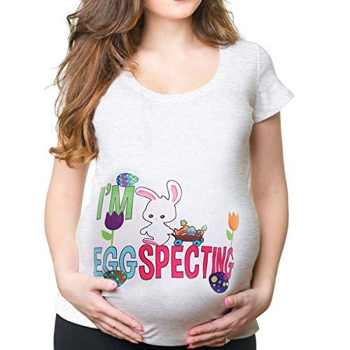 Amphia - Umstandsmode Bluse Umstands Top Damen Ostern Ei Drucken T-Shirt Schwangere Frau Kurzarm T-Shirt - Mutterschafts-Baby-Blumenhasen-T-Shirt der Frauen Top T-Shirt Schwangerschafts-Kleidung