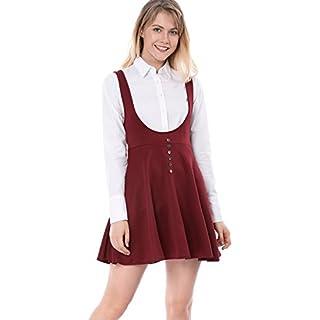 Allegra K Damen A Linie Über Knie Button Dekor Trägerkleid Kleid, XS (EU 34)/Rot