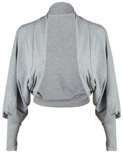 Da donna, maniche a pipistrello anteriore aperto Coprispalle senza chiusura bolero maglia corto cardigan top Grigio chiaro