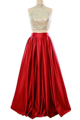 MACloth - Robe - Dos nu - Sans Manche - Femme Rouge - Rouge