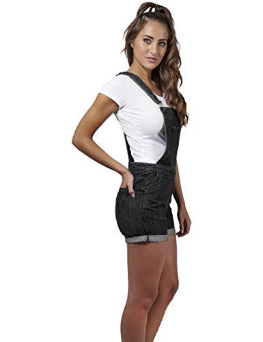 Urban Classics Damen Latzhose Ladies Short Dungaree Schwarz (black washed 709)