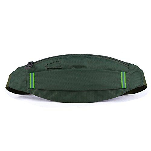 Lawevan Nylon unisex Lauf Taille Packs Handy Taille Taschen Portemonnaies Reisen Grün