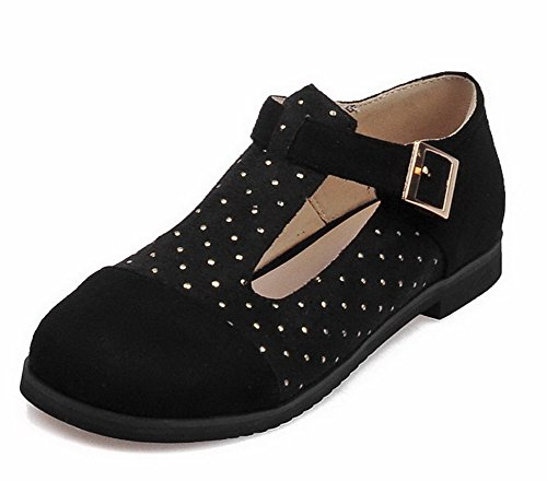 AllhqFashion Femme Couleurs Mélangées Dépolissement Non Talon Rond Boucle Chaussures à Plat Noir