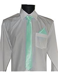 Herren-Krawatte aus Satin, mit oder ohne Einstecktuch, für Hochzeit oder Business, Schlips, 5 cm breit