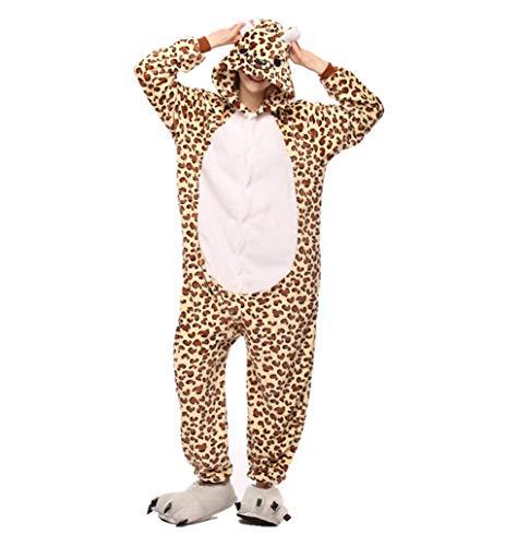 HLDUYIN Pijamas Adultos Unisex Felpa Onesies Cosplay Animal Leopardo Oso Disfraz Pijamas Gruesos De Franela (Excepto Zapatos),S
