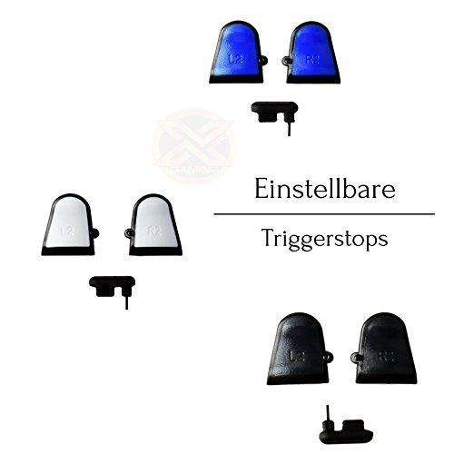 Preisvergleich Produktbild Einstellbare Triggerstops für PlayStation PS4 Dualshock 4 Controller mit Soft Touch Grip (Blau)