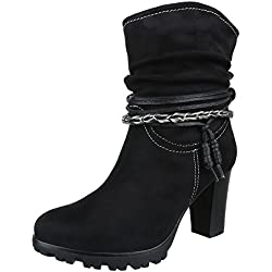 Cowboy- / Westernstiefeletten Damen Schuhe Cowboy Stiefel Pump Western Style Reißverschluss Ital-Design Stiefeletten Schwarz, Gr 41, 776-Ga-