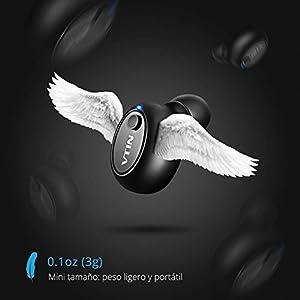 Mini Auricular Bluetooth, VicTsing Auricular Invisible Bluetooth 4.1 y EDR, Manos Libres y Cancelación de Ruido, In Ear Auriculares con Micrófono para Hacer Llamadas en Coche y Oficina etc(Negro)