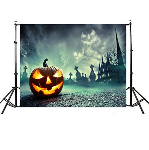 VEMOW Halloween Party Dekoration Kulissen Kürbis Vinyl 5x3FT Laterne Hintergrund Fotografie Studio Wandaufkleber 150 * 90cm(Mehrfarbig, 150 * ()