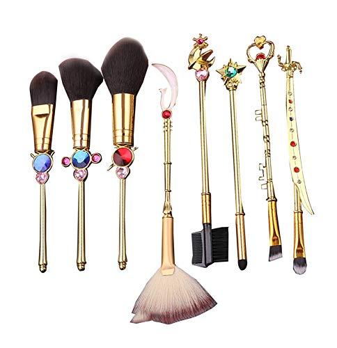Set mit Beutel, Magical Girl Gold Kosmetik Pinsel Sets für Gesicht und Augen mit rosa Tasche, Gold ()