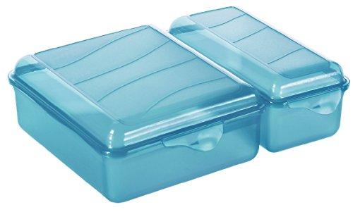 Rotho 1711706113 Funbox Vesperdose Brotbox Twin mit 2 getrennten Fächern, BPA und schadstofffrei, hergestellt in der Schweiz, 22 x 16,5 x 7 cm, aqua Blau Vesperbox, Plastik, 22 x 16.5 x 7 cm