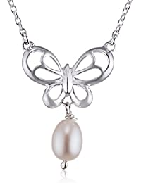 Elements Sterling Silver Women's N3535W Butterfly Necklace with Pearl Drop of 46cm