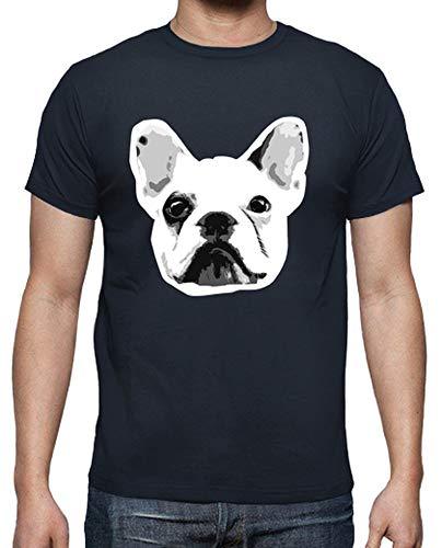 latostadora - Camiseta Bulldog Frances para Hombre Azul Marino S
