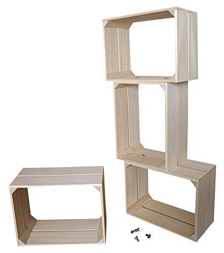 Liza line libreria componible libreria componibile con 4 cassette in legno di pino – mensole stile vintage. mobile contenitore a 4 vani. pino massiccio – ogni cassa misura 40x30x20 cm (legno naturale)