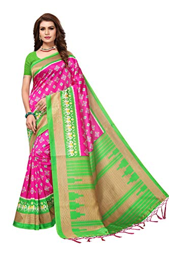 AKHILAM Women\'s Art Silk Saree with Unstitched Blouse Piece (Pink_Free Size)