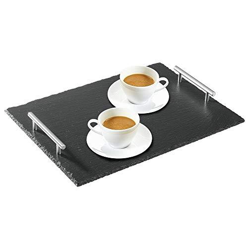 mDesign Platos de pizarra con asas de acero - Bonita tabla de quesos, útil para embutidos, tartas, aperitivos, etc. - También sirve como pizarra de tiza para menús o anuncios - negro