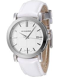 Burberry Unisex-Armbanduhr Heritage Swiss Luxus rund Edelstahl weiß Datum Zifferblatt weiß Lederband 38 mm BU1380