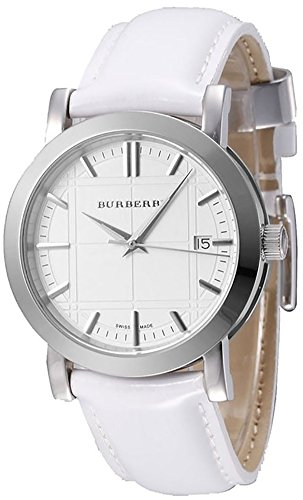 Burberry Unisex Men Women Watch Heritage SWISS LUXURY Round Stainless Steel White Date Dial White Leather Band 38mm BU1380