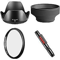 Neewer–Juego de accesorios de 55mm para Canon Rebel (T5i T4i T3i T3T2i T1i XT XTi XSi SL1), Canon EOS (700d 650d 600d 1100d 550d 500d 100d)–Incluye: Tulipanes–Parasol + apertura plegable Goma + UV lente de filtro + limpieza de lente de objetivo de lápiz + Micro Fiber Paño de limpieza