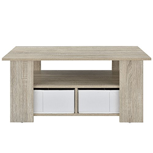 [en.casa] Mesa de centro (90 x 50 x 41 cm) chapeada (roble) con cajas para almacenar (blancas - efecto lino) con balda y espacio de almacenamiento