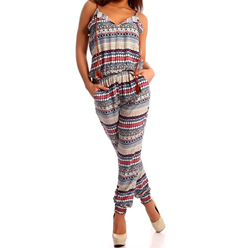 Young-Fashion Damen Overall Jumpsuit Gemustert Einteiler