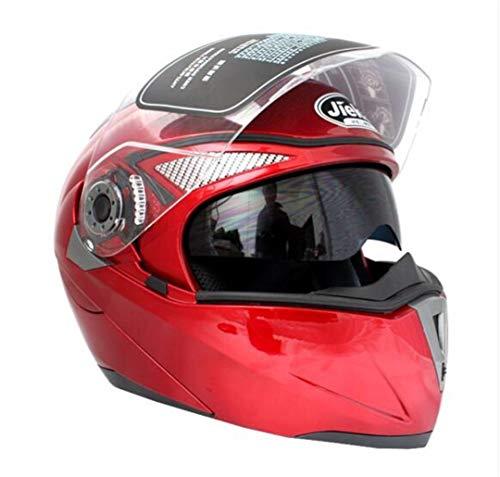 MT&CHEYTN Cascos de Motos Modular Cover Up Casco de Motocross Carrera Doble Lente Capacete Casco de Motocicleta Red M